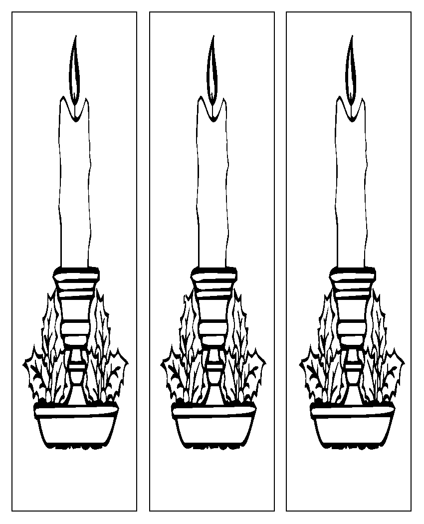 Christmas Candles Bookmarks Coloring Page
