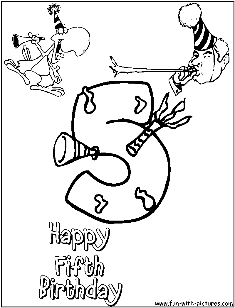 Free Coloring Pages Of Happy 5th Birthday