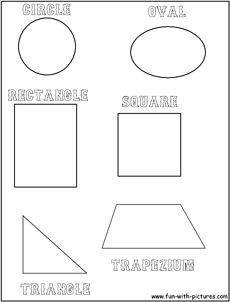 Geometric Shapes Coloring Page Of Circle Oval Rectangle Square