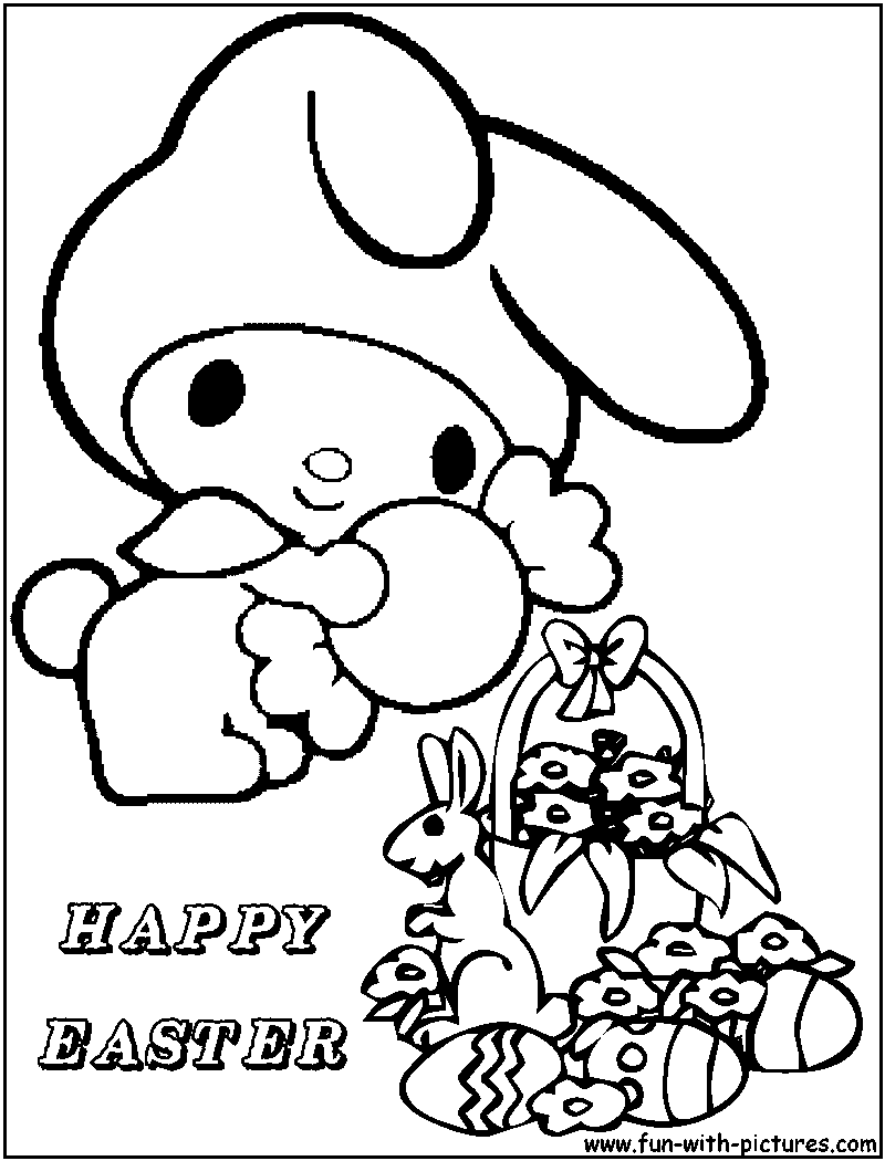 Hellokitty Easter Coloring Page