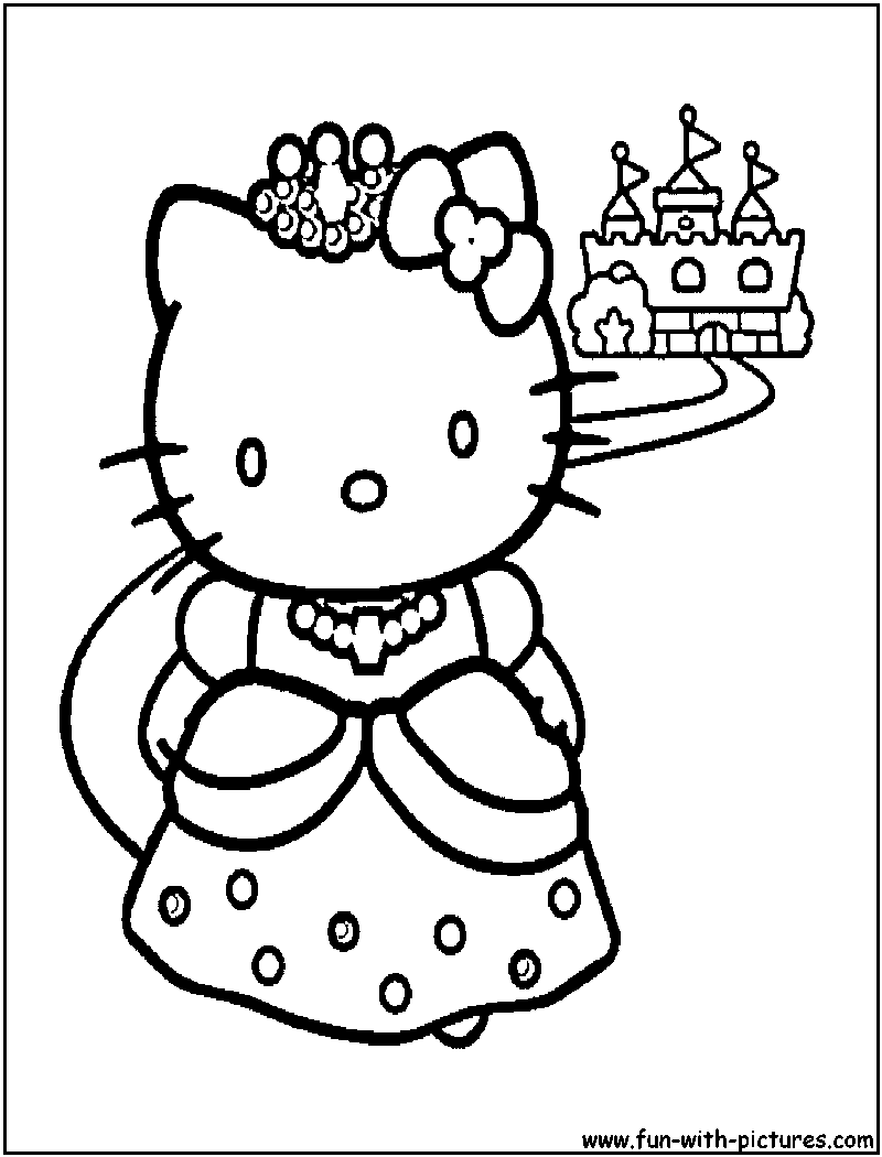 Princess coloring pages christmas - Colouring In Pages Hello Kitty