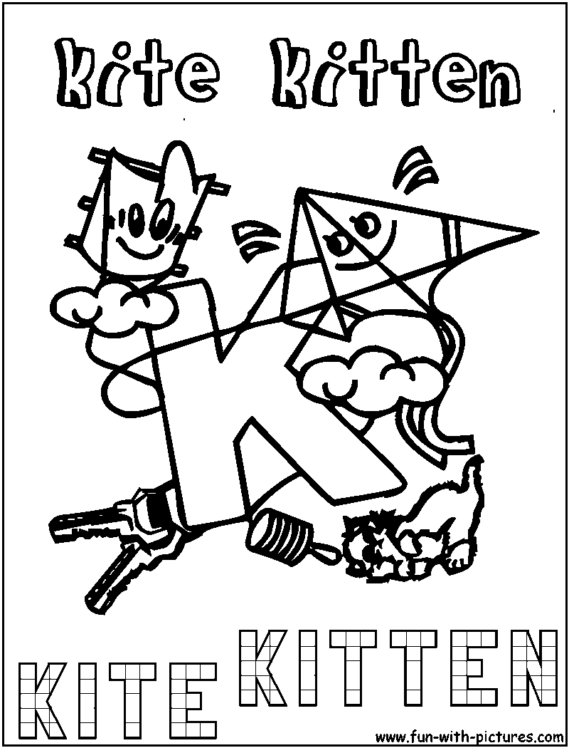 k is for kitten coloring pages - photo #15