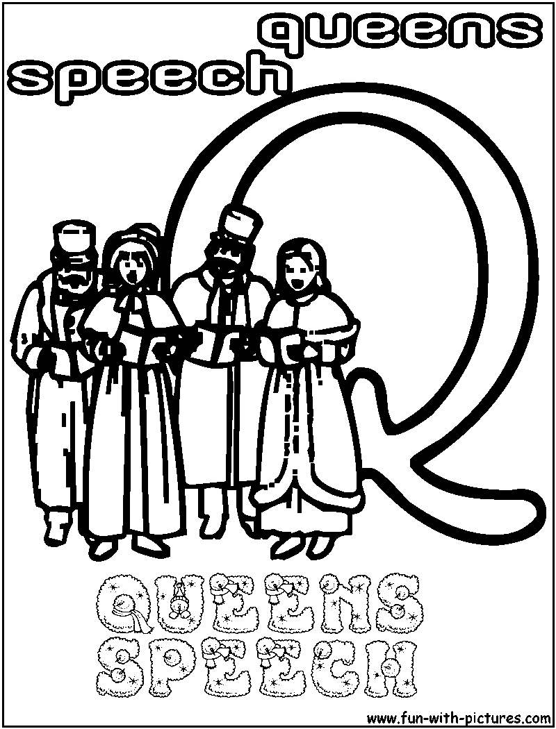 Q queens speech coloring page for Speech coloring pages