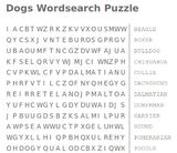dogs wordsearch puzzle
