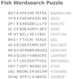 fish wordsearch puzzle