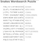 snakes wordsearch puzzle