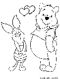 Valentine Pooh Piglet Coloring Page