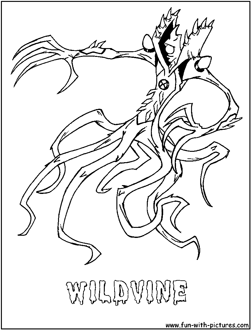 ben 10 wild vine coloring pages sketch coloring page