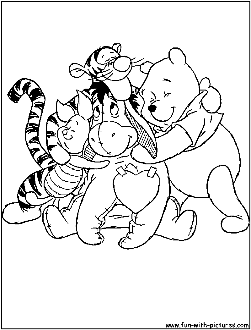 Winnie Friends Valentine Coloring Page